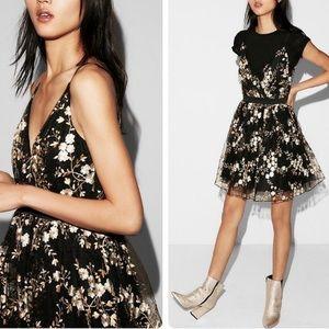 gold floral embroidered tulle black dress
